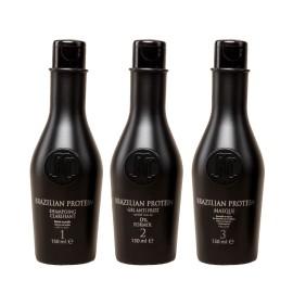 Kitt Brazilian Protein Capillaire - Shampoing + Gel Anti Frizz + Masque - 150ml x3